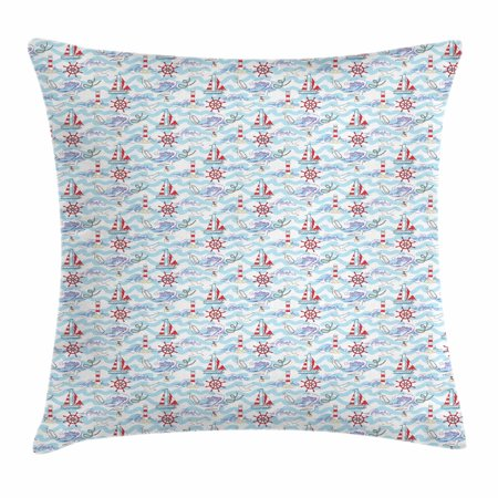 Lighthouse Throw Pillow Cushion Cover, Wavy Stripes Ocean Ship Steering Wheel Message in a Bottle Seagulls, Decorative Square Accent Pillow Case, 18 X 18 Inches, Pale Blue Purple Red, by (Message In A Bottle Cover Machine Head)