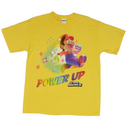 Super Mario Brothers (Bros.) (NES WII) Mens T-Shirt  - Power Up! Runnning In