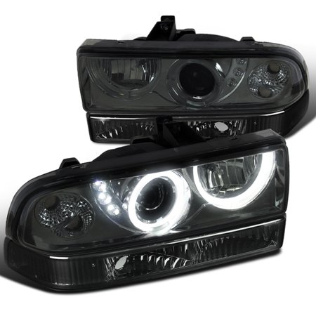 Spec-D Tuning For 1998-2004 Chevy S10 Blazer Smoke Smd Led Halo Projector Headlights + Bumper Lights Lamps (Left+Right) 1998 1999 2000 2001 2002 2003 2004 (Chevy Blazer Interior)