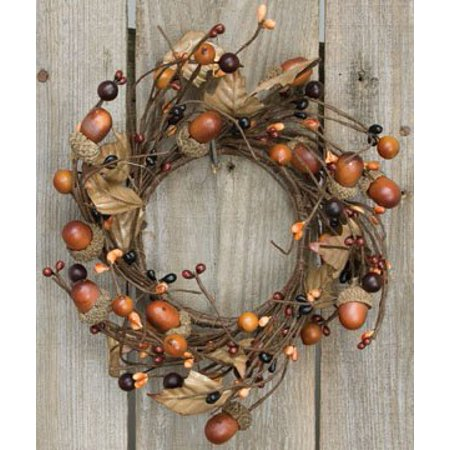 Country Mix Acorn Pip Berry Ring Mini Wreath Fall Autumn Tone Leaves Country Primitive Floral Décor - Mini Wreaths