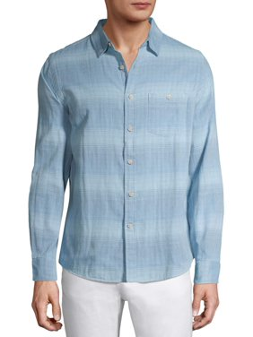 George Men's and Big Men's Super Soft Cotton Untucked Long Sleeve Shirt