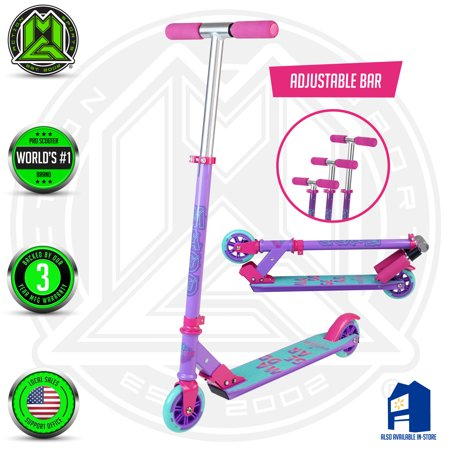 MADD GEAR – CARVE 100 – Purple Pink Teal – Folding Aluminum Kick Scooter – Suits Girls Ages 3+ - Max Rider Weight 146lbs – 3 Year Manufacturer's Warranty –