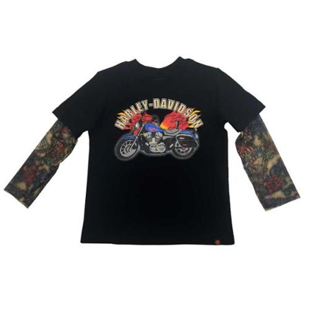 little boys' motorcycle tee w/ mesh tattoo sleeves 1070641