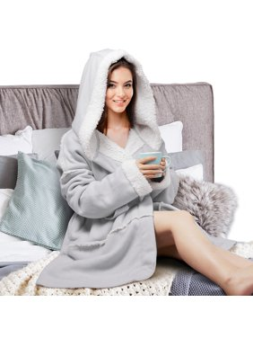 3b0228d192 Product Image Plush Hooded Robe for Women Soft Warm Short Fleece Bathrobe