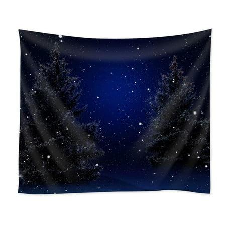 Cadecor Starry Snowy Winter Night Christmas Trees Desktop Wallpaper