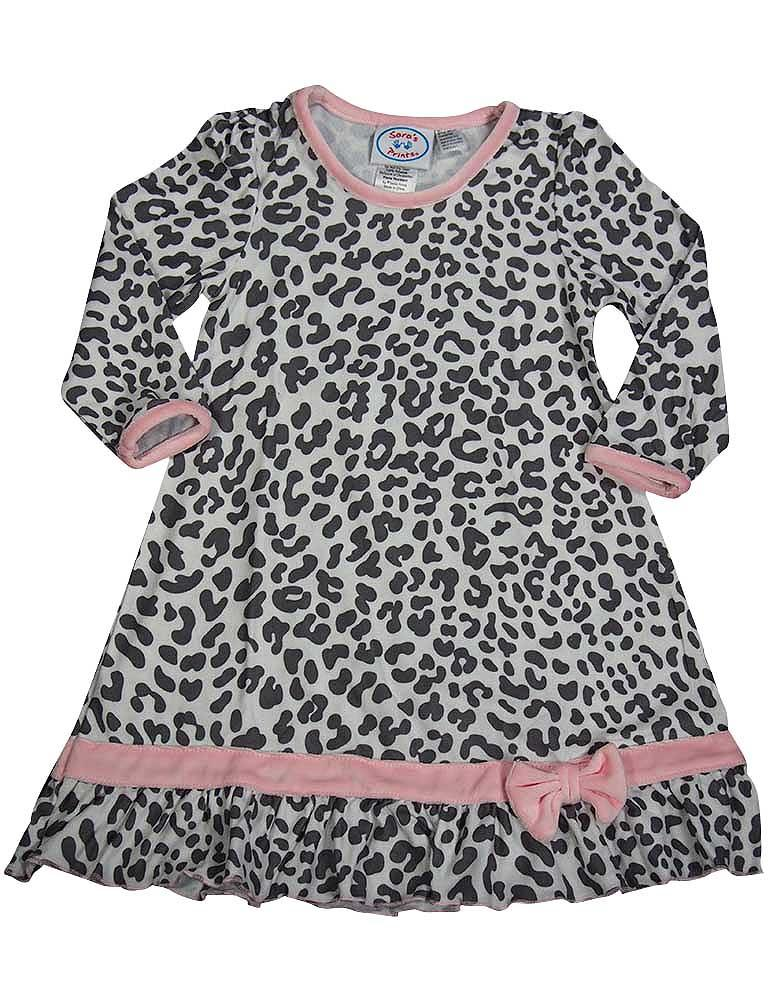 Saras Prints Toddler Girls Long Sleeve Gown Multi Prints Ruffle Flame Resistant, 38001 grey leopard / 4