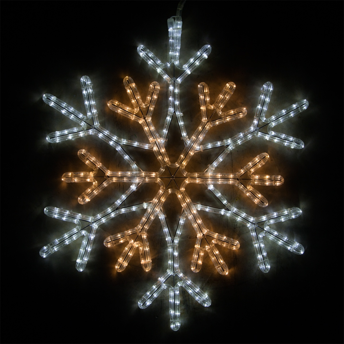"12/"" Pure White Rope-Lit Snowflake with Star Window Wall Yard Winter Decor"