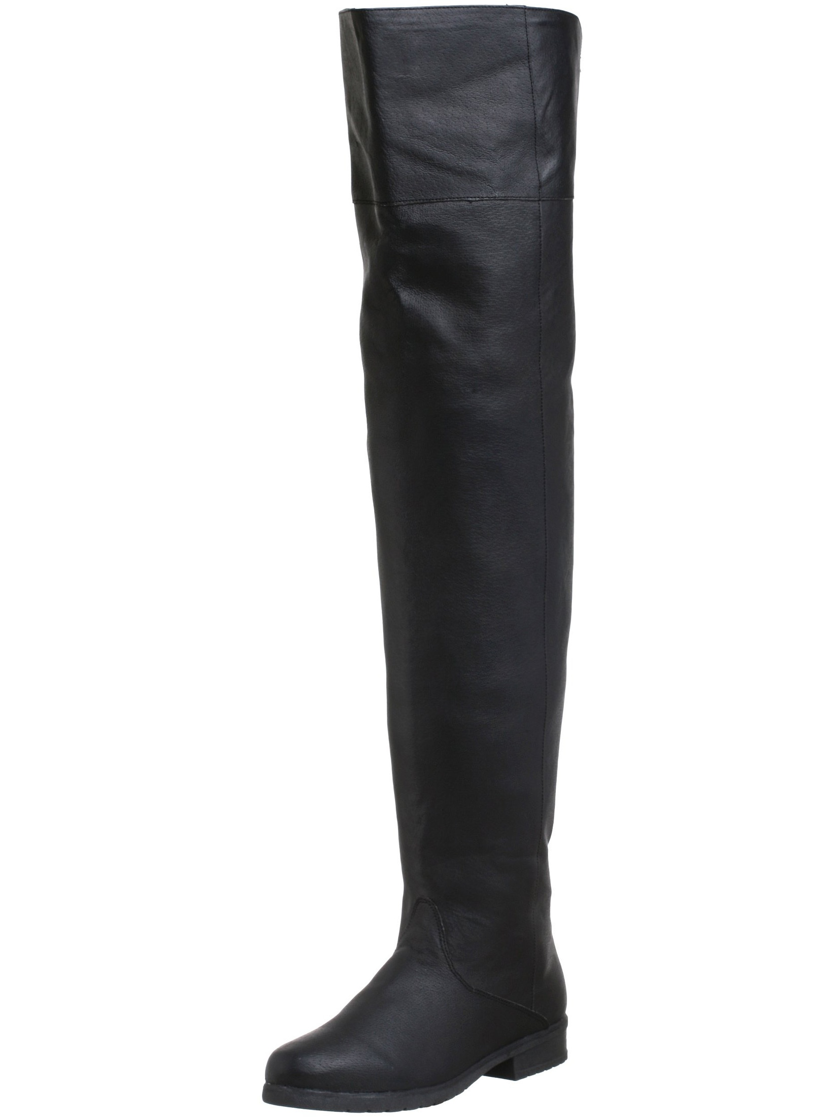 Mens Thigh High Boots Black Leather Pirate Costumes Renaissance Shoe MEN SIZING
