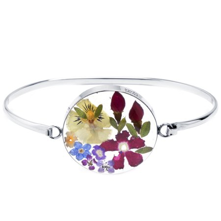 Sterling Silver Everlasting Multi Color Flower Bangle - Multi Disc Bracelet