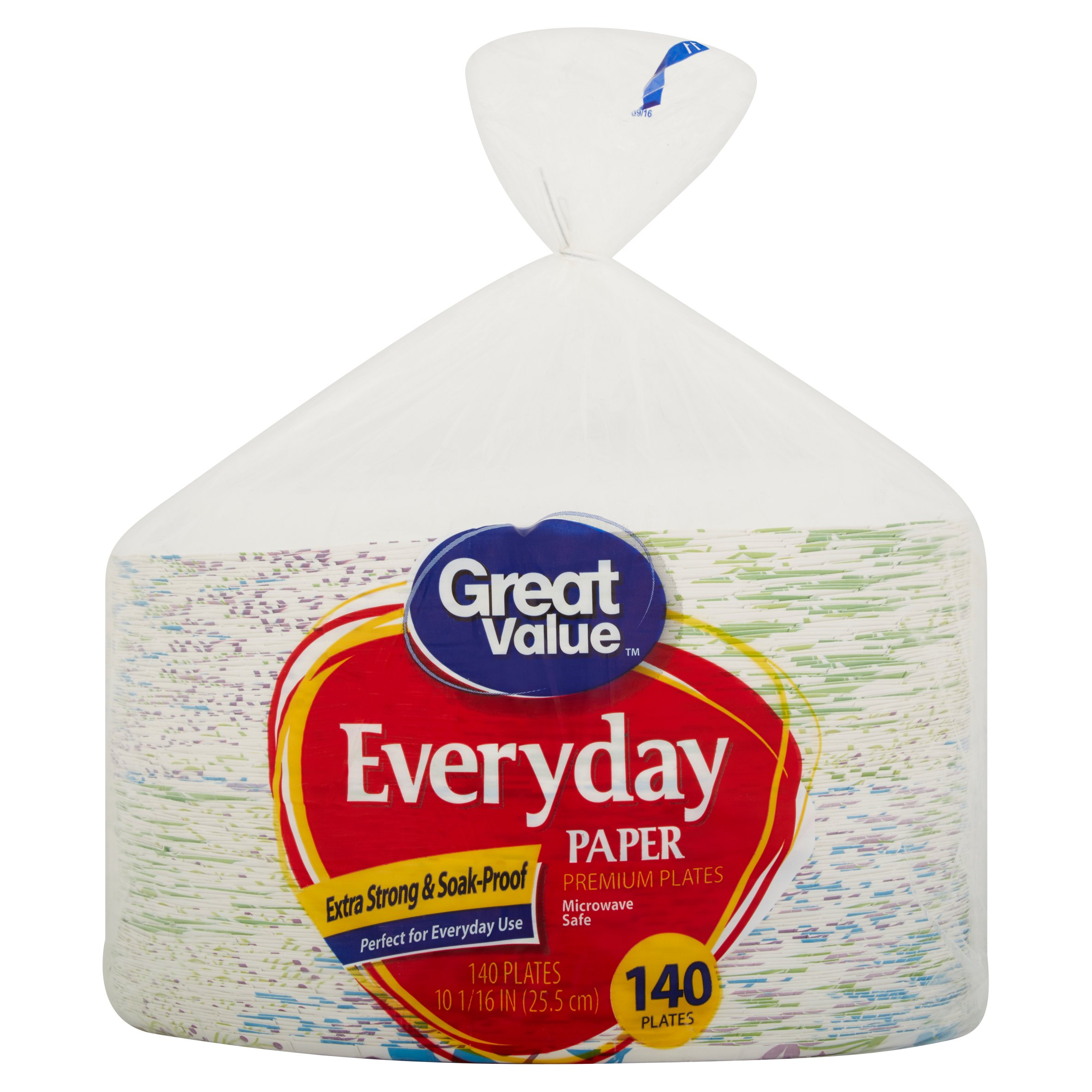 "Great Value Everyday Paper Premium Plates, 10 1/16"", 140 Count"