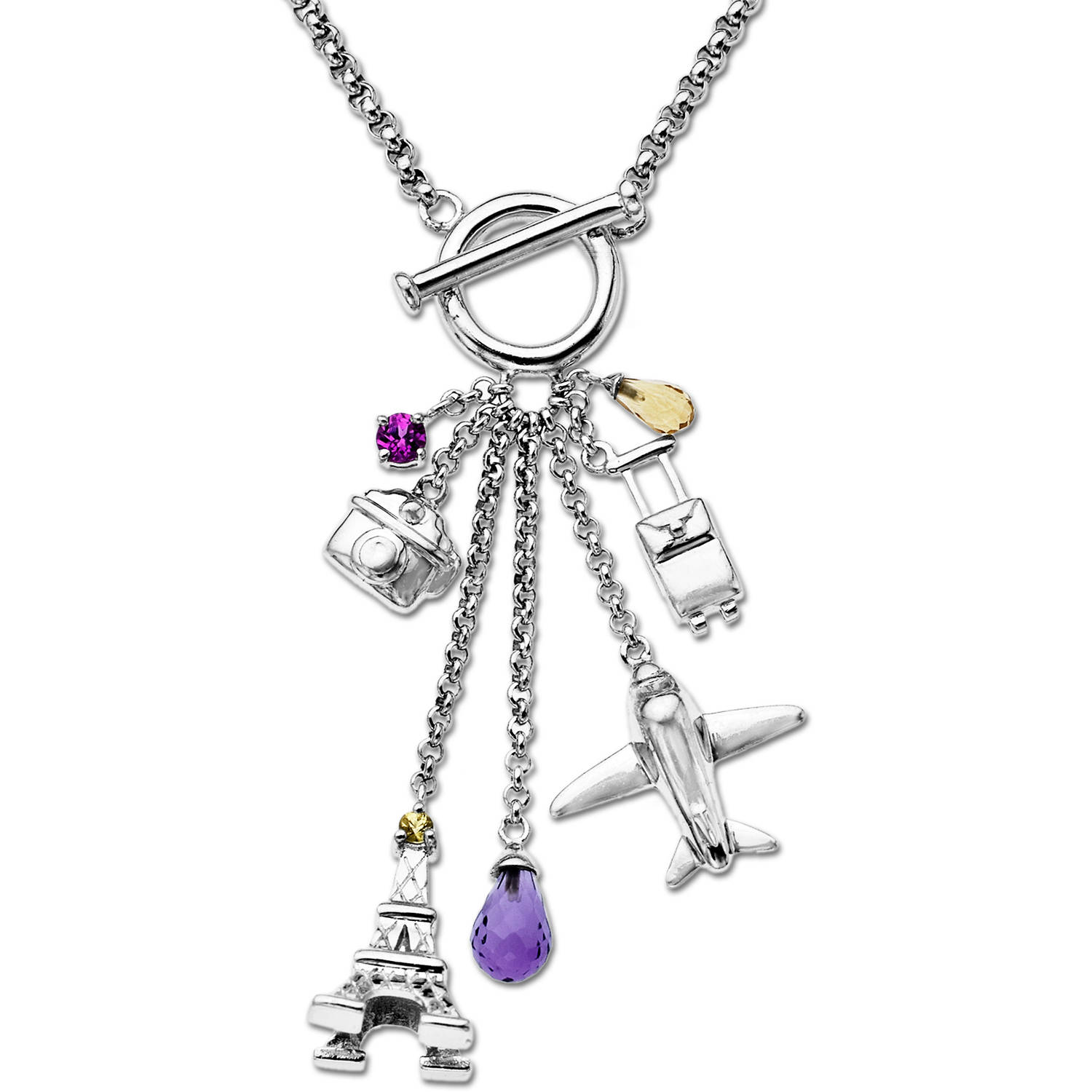 Duet 14kt Yellow Gold and Sterling Silver Yellow Sapphire, Created Pink Sapphire, Citrine and Amethyst Charm Necklace,... by Richline Group Inc