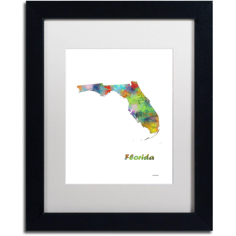 "Trademark Fine Art ""Florida State Map-1"" Canvas Art by Marlene Watson, White Matte, Black Frame"