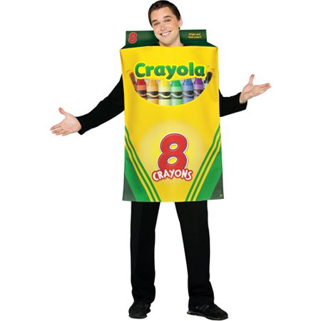 Crayons Costume (Crayola Crayon Box Adult Halloween Costume - One)