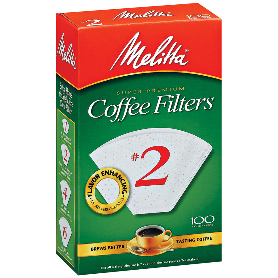 Melitta #2 White Cone Coffee Filters, 100 Ct