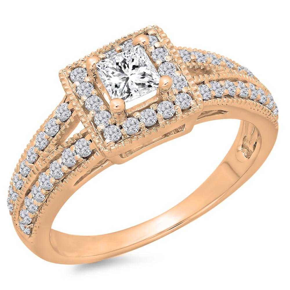 Dazzling Rock 0.80 Carat (ctw) 14K Rose Gold Princess & R...