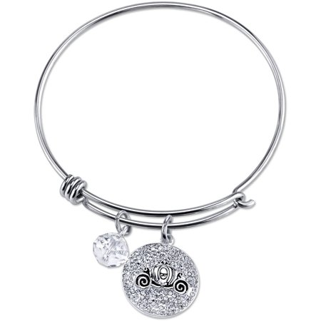 Women's Stainless Steel Dream Big Crystal Cinderella Carriage with 8mm Clear Bead Bangle Bracelet Big Bangle Bracelet