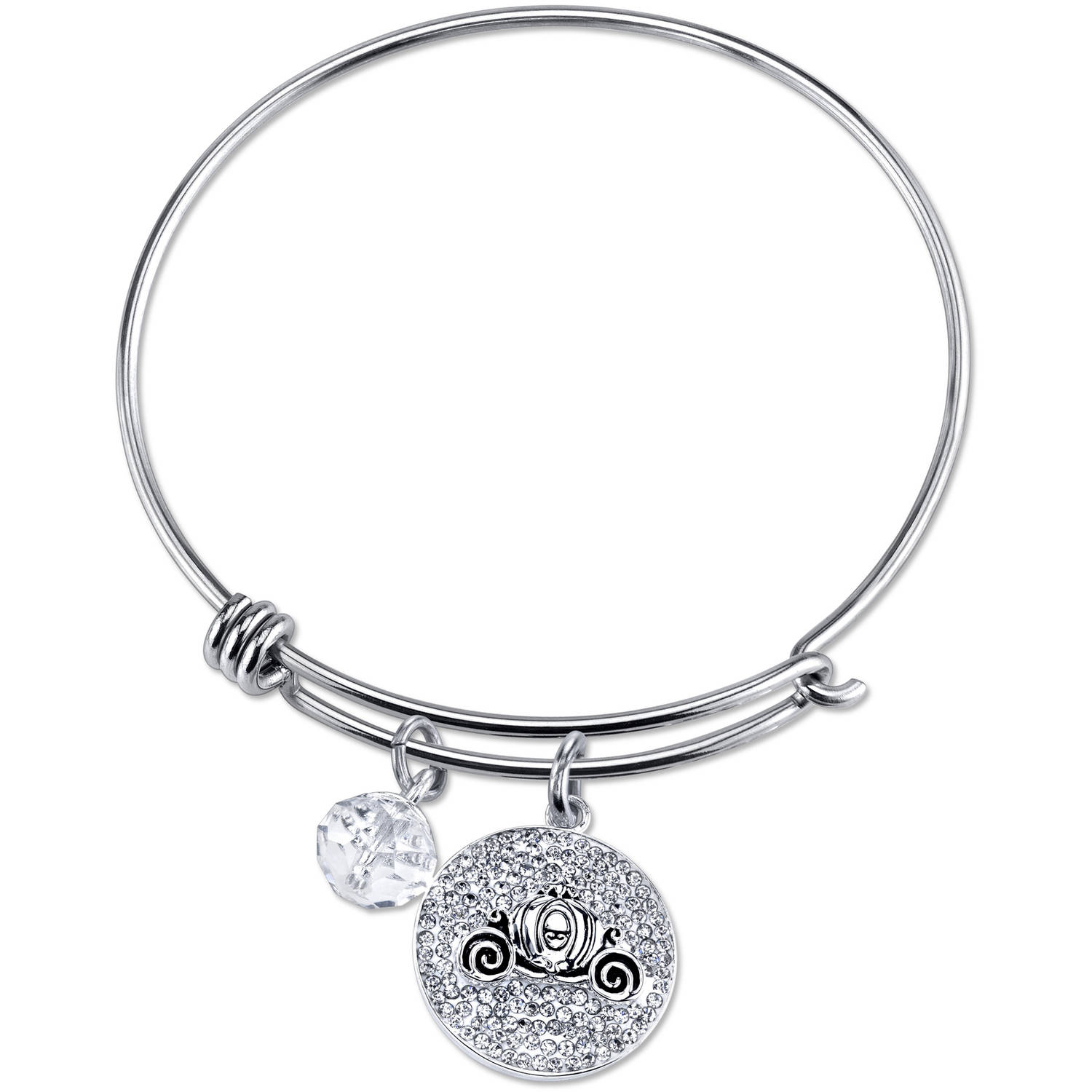 Women's Stainless Steel Dream Big Crystal Cinderella Carriage with 8mm Clear Bead Bangle Bracelet