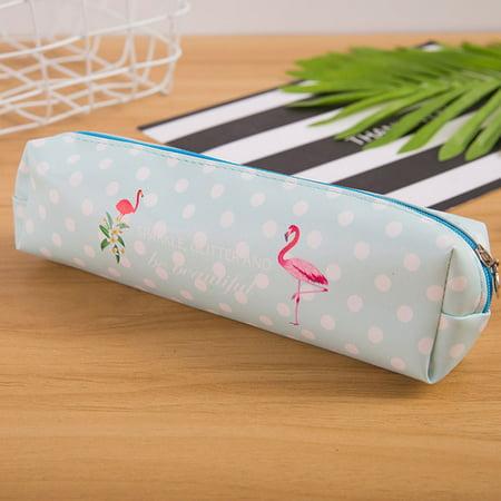 KABOER 4 PCS Lovely Cute Flamingo Pencil Case PU Waterproof Creative Cute Flamingo Family Storage Bag