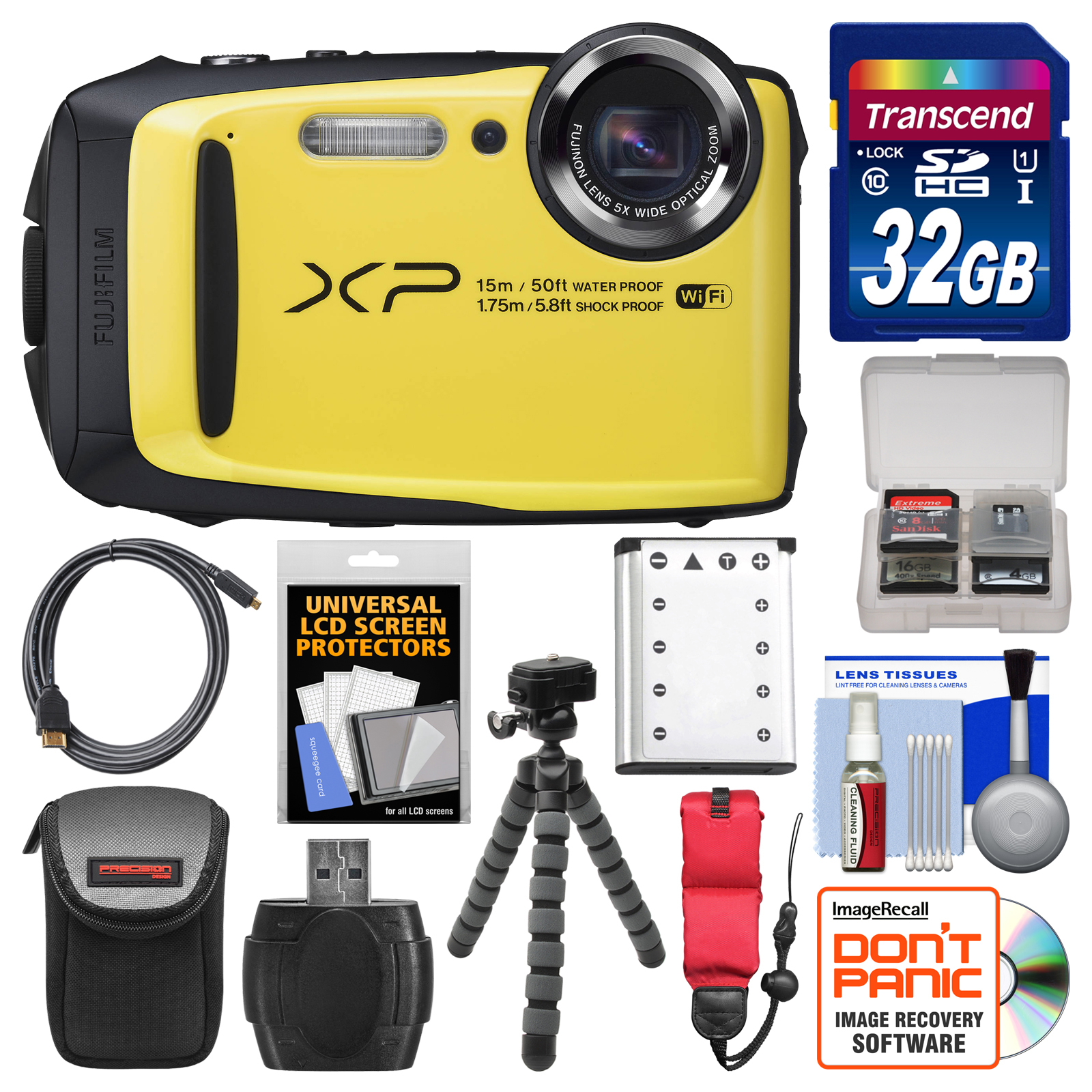 Fujifilm FinePix XP90 Shock & Waterproof Wi-Fi Digital Camera (Yellow) with 32GB Card + Case + Flex Tripod + Battery + Float Strap + Kit