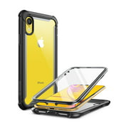 iphone xr case, i-blason [ares] full-body rugged clear bumper case with built-in screen protector for apple iphone xr 6.1 inch (2018 release)(blue)