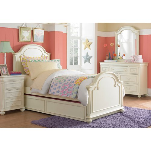 Charlotte Arched Panel Bed - Antique White