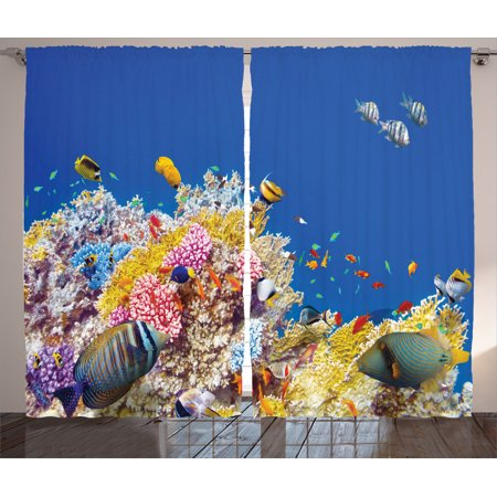 Ocean decor curtains 2 panels set colorful underwater for Diving and fishing mural