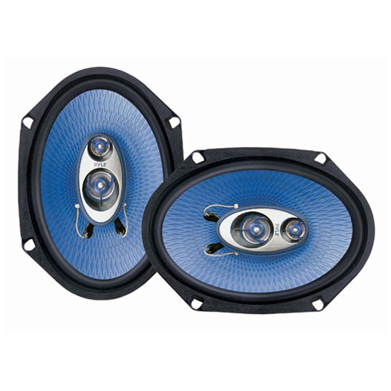 """PYLE PL683BL - 6"""" x 8"""" Car Sound Speaker (Pair) - Upgraded Blue Poly Injection Cone 3-Way 360 Watts w/Non-fatiguing Butyl Rubber Surround 70-20Khz Frequency Response 4 Ohm & 1"""" ASV Voice Coil"""