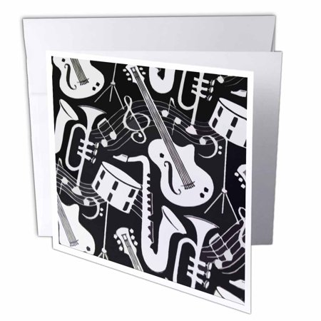 3dRose Musical Instruments In Black n White, Greeting Cards, 6 x 6 inches, set of 12 (Greeting Cards Musical)