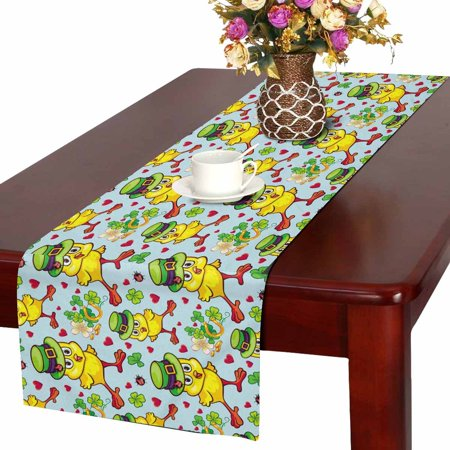 MKHERT Cute Yellow Chicken Table Runner, St. Patrick Day Table Cloth Runner for Wedding Party Banquet Decoration 14x72 inch