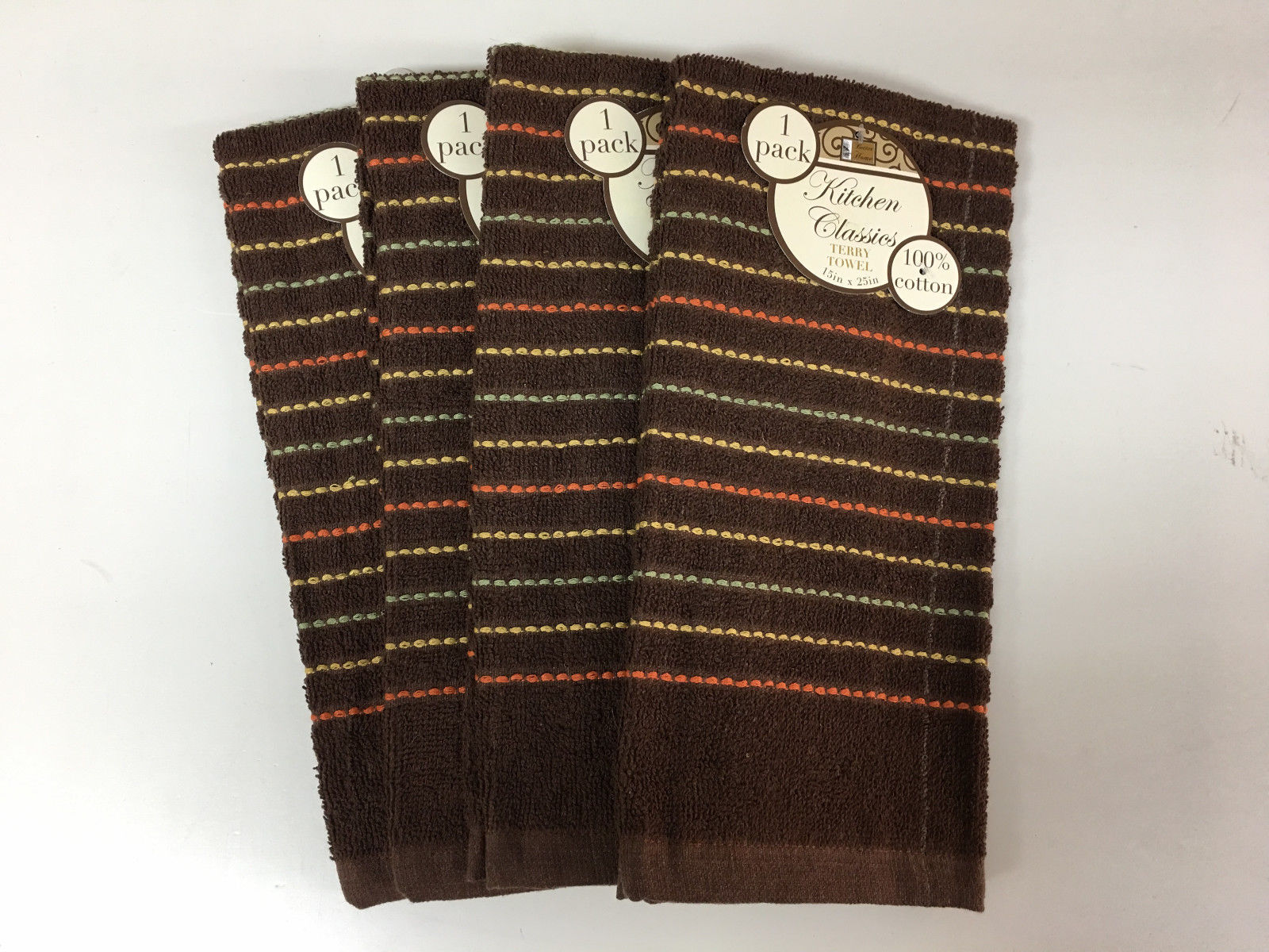 Set of 4 Cotton Striped Kitchen Dish Towels, Tea Towels, Brown by