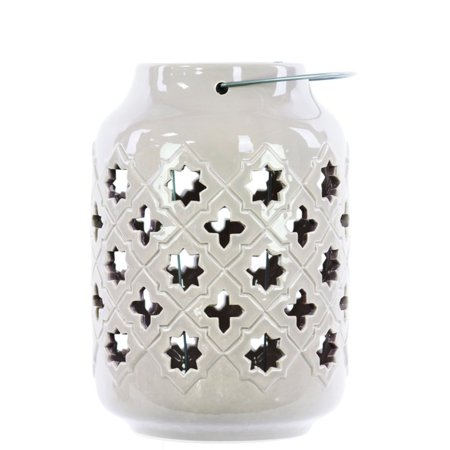 Ceramic Lantern With Metal Handle Octagram And 4-Point Star Design - White