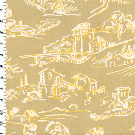 Designer Cotton Beige/Yellow Village Toile Print Home Decorating Fabric, Fabric By the Yard