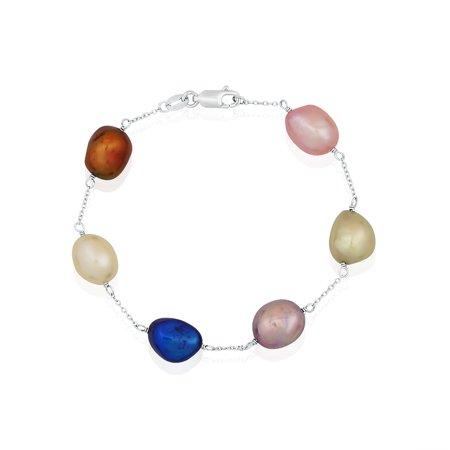 Bracelet en coupelle en étain avec perles d'eau douce baroques multicolores en argent sterling Pearlyta (9-10 mm) - image 1 de 1