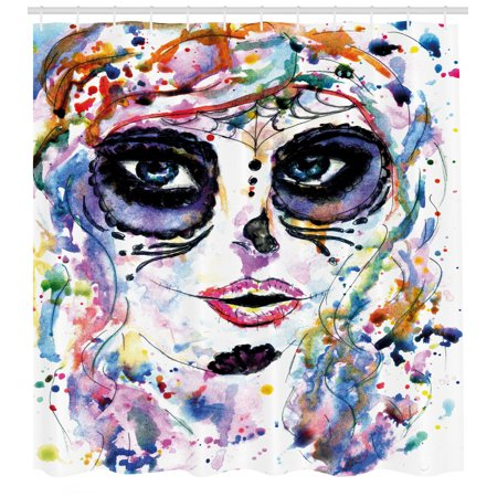70's Makeup Styles (Sugar Skull Decor Shower Curtain, Halloween Girl with Sugar Skull Makeup Watercolor Painting Style Creepy, Fabric Bathroom Set with Hooks, 69W X 70L Inches, Multicolor, by)