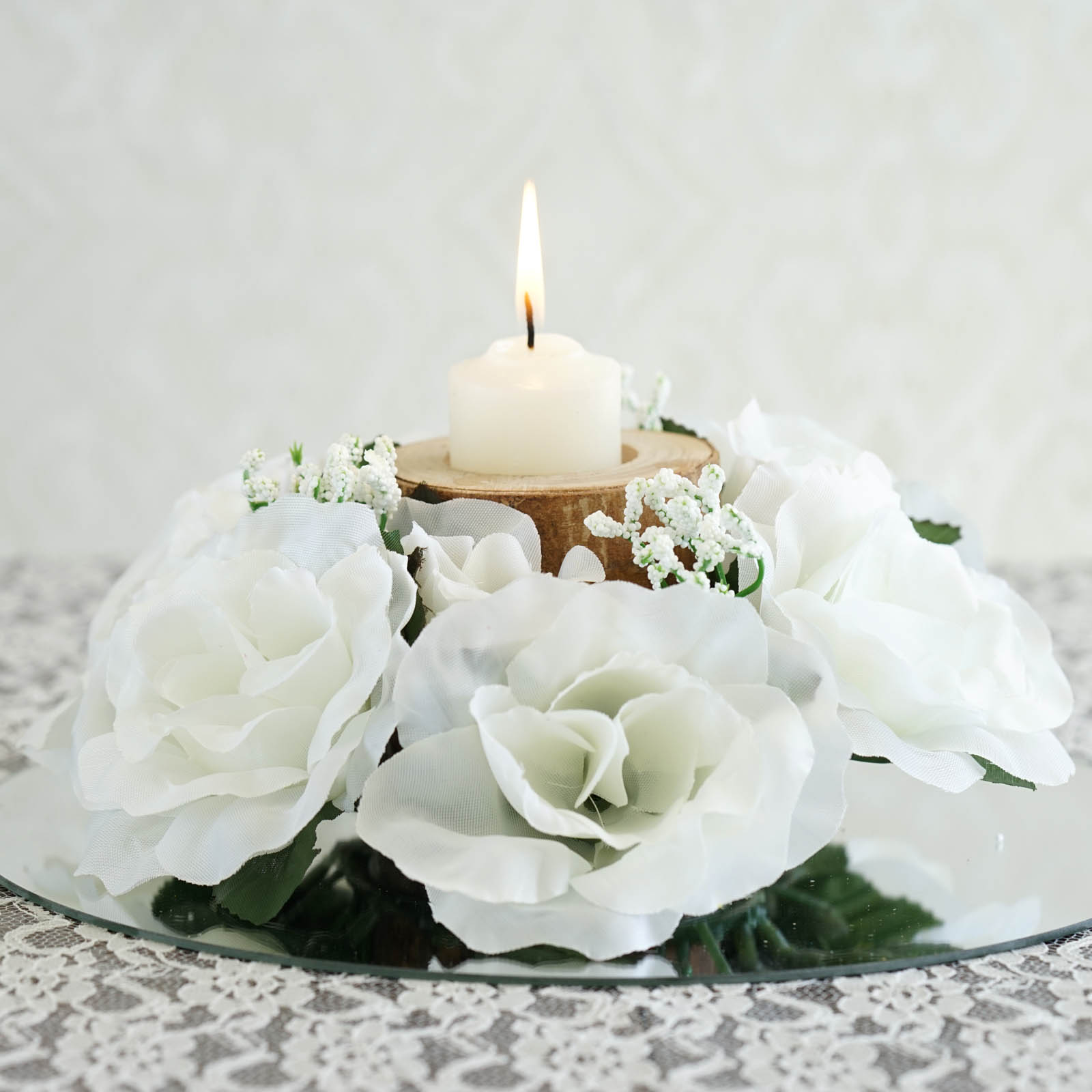 Efavormart 8 Pcs Artificial Roses Flowers Candle Rings For Diy