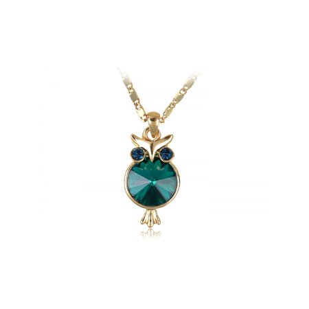 Eyed Owl Pendant - Green Fashion Round Hoot Owl Body Turmaline Eyes Golden Tone Pendant Necklace