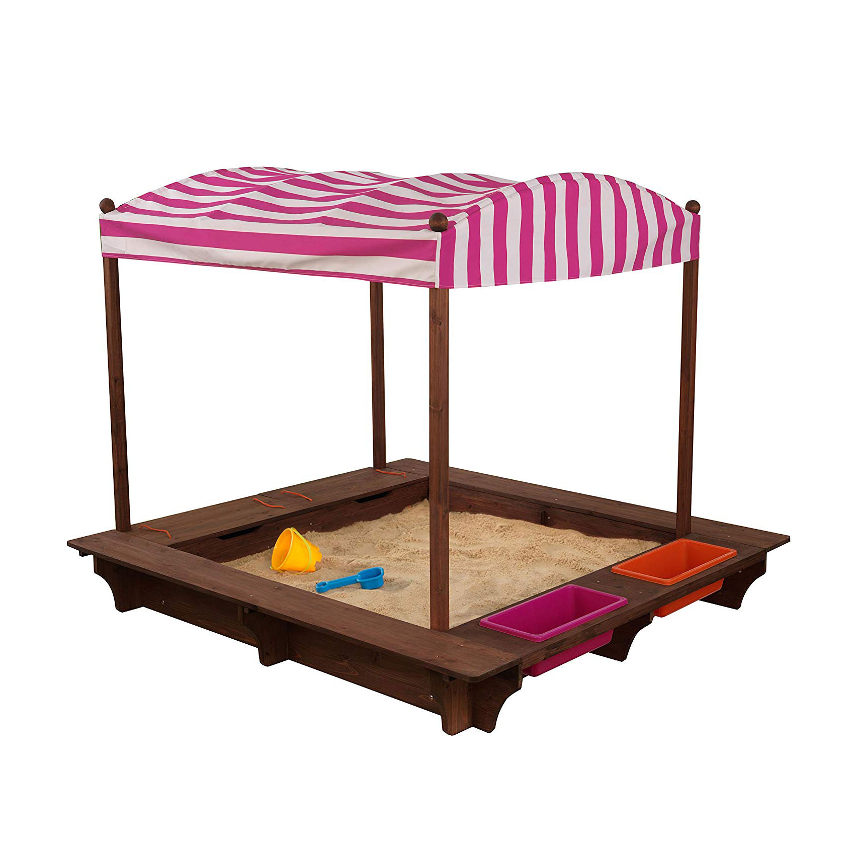 KidKraft Outdoor Play Cabana Kids Sandbox with Striped ...