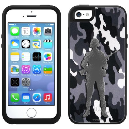 Skin Decal for OtterBox Symmetry Apple iPhone SE Case - Black and White Camouflage Soldier
