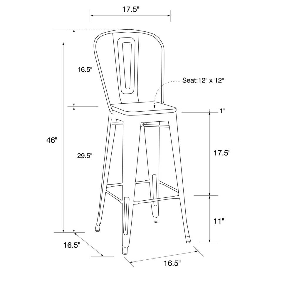 Dhp Luxor 30 Quot Metal Bar Stool With Wood Seat Set Of 2
