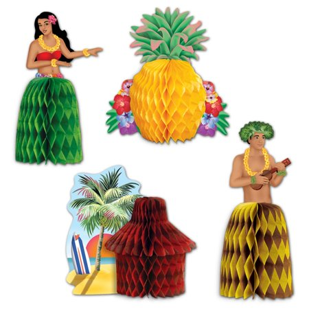 Club Pack of 48 Colorful Hawaiian Luau Mini Honeycomb Playmate Centerpiece Party Decorations 5.5