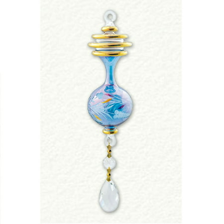 Blue Etch with Four Gold Rings and Hanger Egyptian Glass Christmas Tree Ornament (Christmas Etched Ornaments)