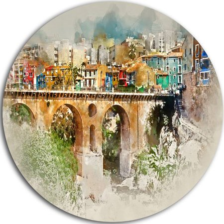 Design Art Villajoyosa City Digital Art Bridge Oil Painting Print On Metal