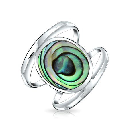 Large Oval Rainbow Abalone Shell Modern Green Double Shank Statement Ring Natural 925 Sterling Silver 5mm