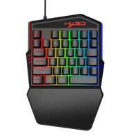 HXSJ One-handed Membrane Keyboard 35 Keys with Backlight Single Hand Gaming Keyboard Ergonomic Design and Anti-ghost Button