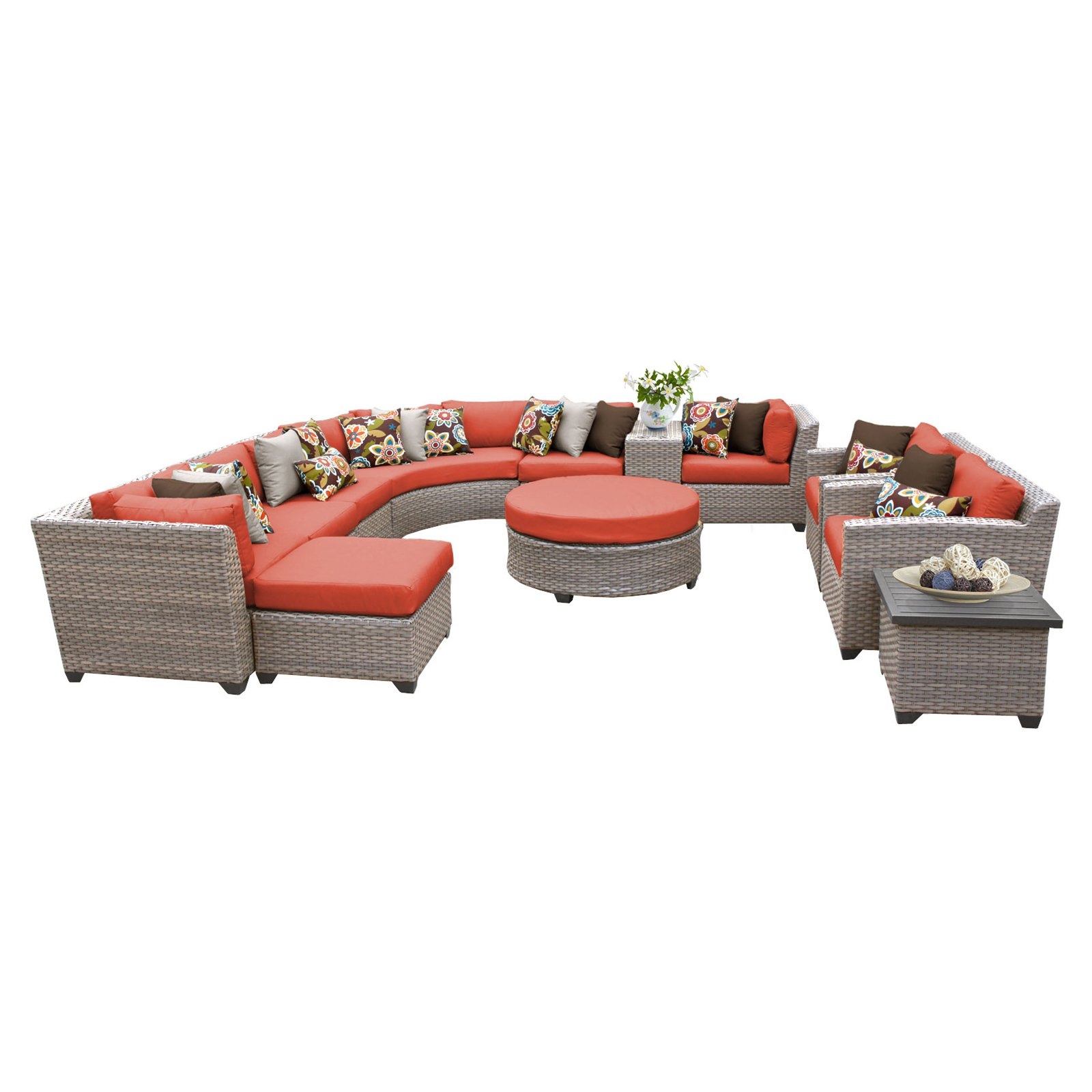 TK Classics Florence Wicker 12 Piece Patio Conversation Set with 2 Sets of Cushion Covers