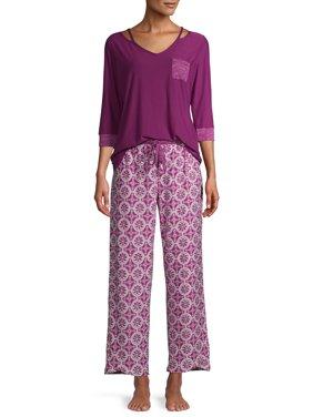 Cool Girl Women's Wicking Henley 2-Piece Pajama Set with Hacci Trim