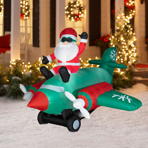 7.5' Long Animated Airblown Christmas Inflatable Santa Sitting on Twin Propellor Airplane