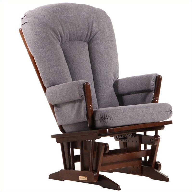 Dutailier 2 Post Glider in Coffee and Dark Gray Fabric