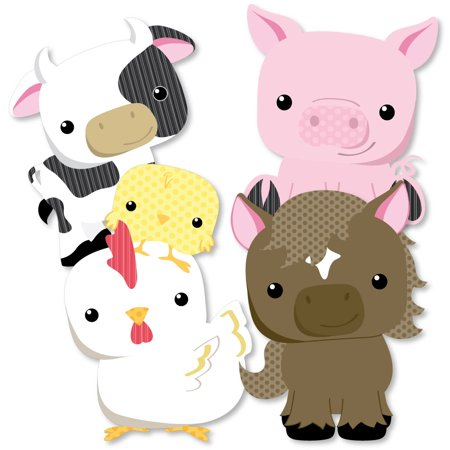 Farm Animals - Cow, Horse, Pig and Chicken Decorations DIY Baby Shower or Birthday Party Essentials - Set of 20 - Horse Halloween Costumes For Babies