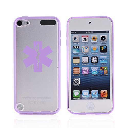 For Apple iPod Touch 5 5th Transparent Clear Hard TPU Case Cover Star Of Life EMT (Purple)